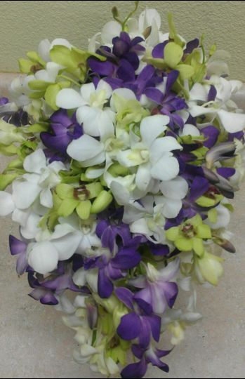 Purple, white and green bouquet