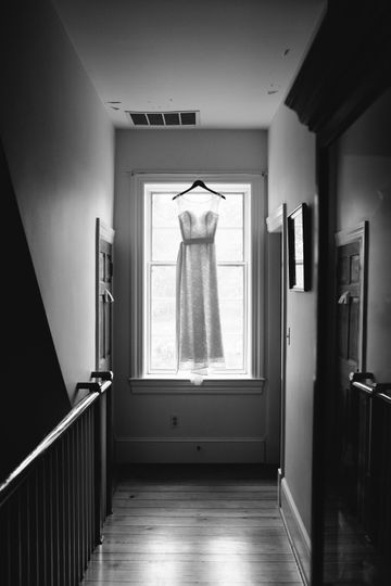 Beautiful bridal gown in the dressing room