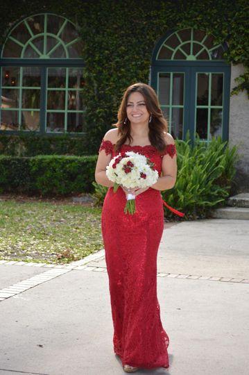 Bridesmaid w/ floral bouquet