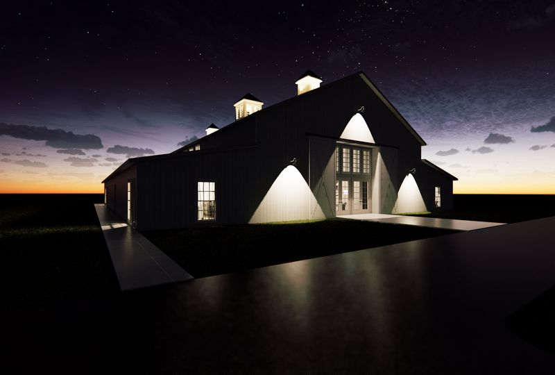 Building facade at night