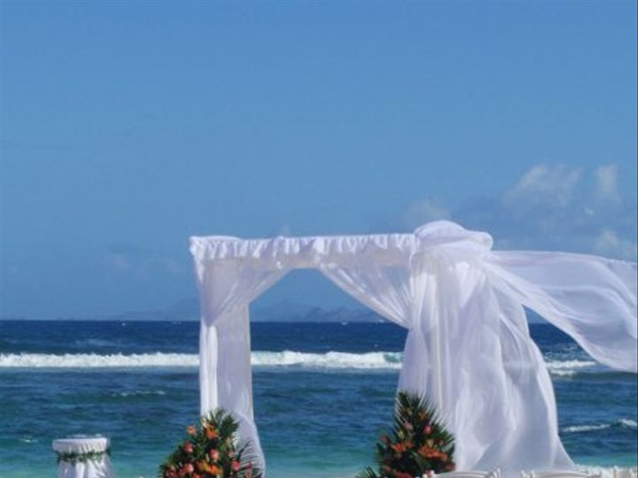 Tmx 1279298004621 PicturesBeachSetUpwithStBarthsinbackgroundSt.Maarten Brooklyn wedding planner