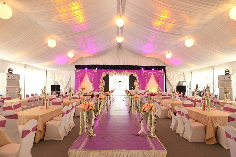 Custom a wedding tent with luxury and romantic decoration with lightings, stages, tables and chairs...