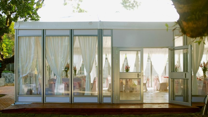 Modern outdoor wedding ceremony hall with full accessories