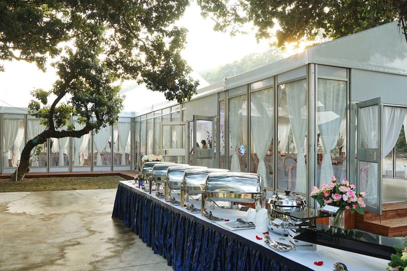 Wedding Tent with glass wall, glass doors and other accessories for reception hall, restaurant hall...