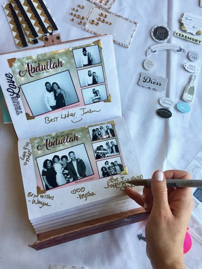 This is an example of the scrapbook that we create throughout the reception. We print an extra copy...