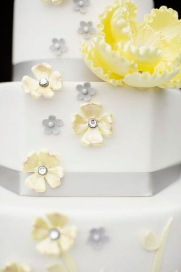 Yellow and silver flower decorations