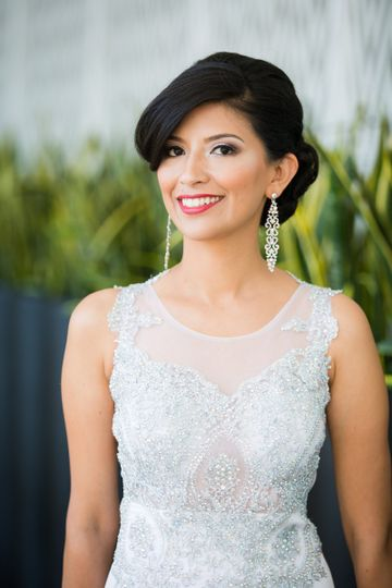 Elegant bridal dress and makeup