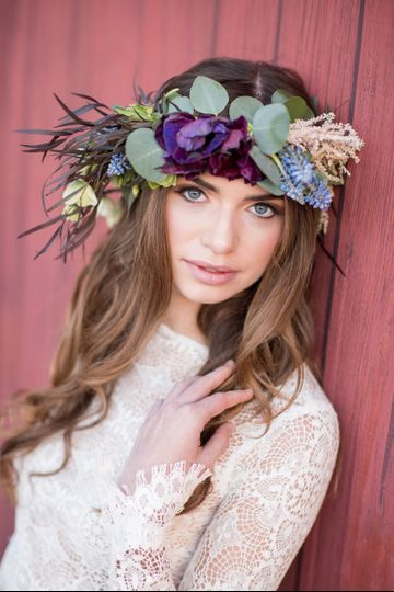 Flower crown on the bride