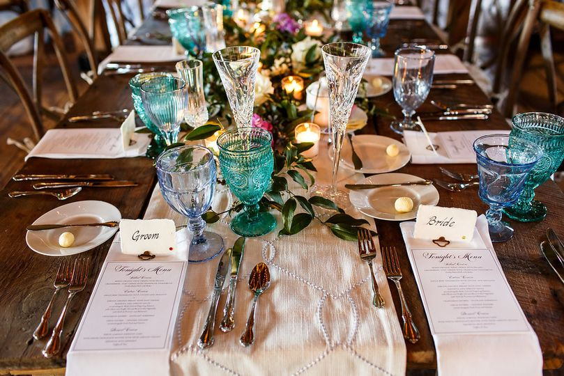 Table set-up with floral and candle centerpiece