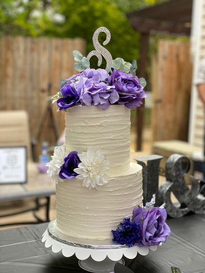 Purple cake decor