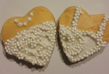 Sugar Cookies with Buttercream Design and white non-pareils