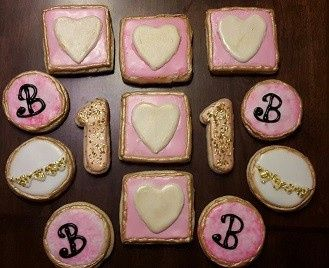 Sugar Cookies with Royal Icing, Edible Gold Glitter, and Painted in Edible Gold