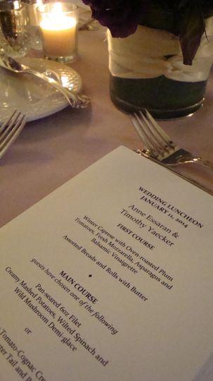wedding luncheon printed menu