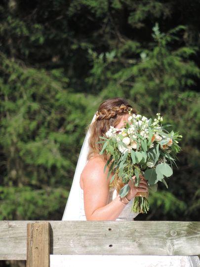 bridewith bouquet and braid