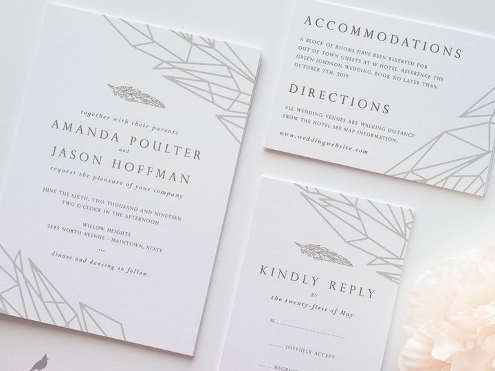 Tmx 1530129541 Fac87b29d1bdd2f4 1530129540 29bc50ed2134d0ef 1530129540075 4 Geo Feather Main Catoosa wedding invitation