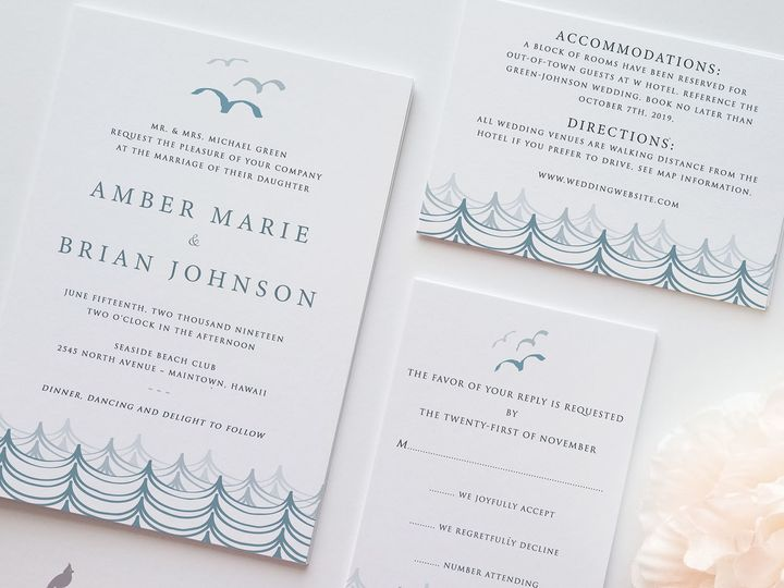 Tmx 1530129594 1648f5b0c5a4b6d1 1530129593 Be8324df0063bddc 1530129592365 9 Modern Beach Weddi Catoosa wedding invitation