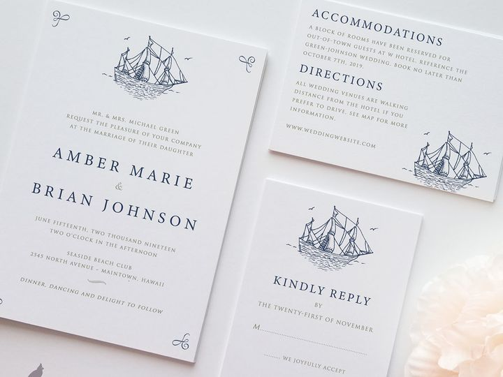 Tmx 1530129629 97ff99efff7835a4 1530129628 F1c358e4ce38d86d 1530129627397 11 Ship Mariner Main Catoosa wedding invitation