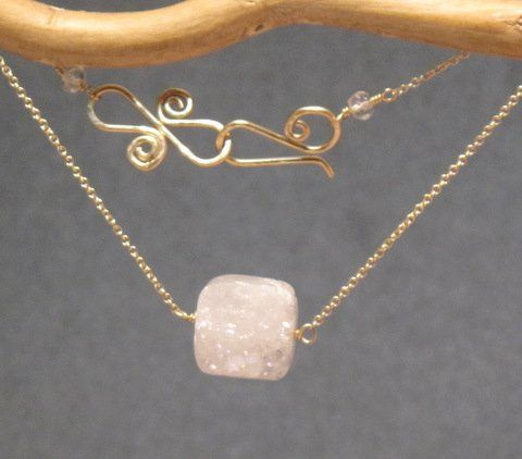 """White druzy quartz cube on fine chain, about 18""""  Matching Earrings -..."""