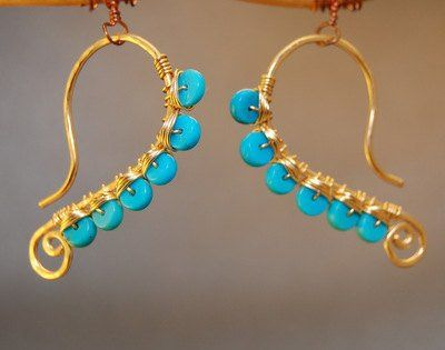 """Hammered wire wrapped with turquoise, about 1-3/4"""" long.   Available in 14k gold filled & sterling..."""