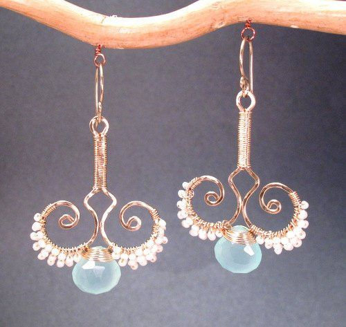 """Hammered wired swirl drops with tiny ivory pearls and pale green chalcedony, about 2-1/4""""...."""