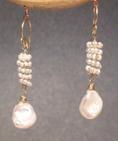 """Clusters of ivory pearls, about 1-1/2"""" long   Available in 14k gold filled & sterling silver  **We..."""