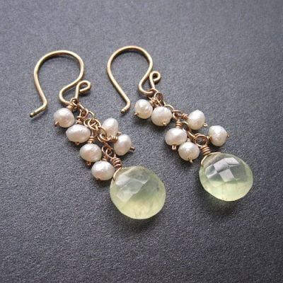 """Choice of pearls or peridot with prehnite, about 1-1/2"""" long.  Available in 14k gold filled &..."""