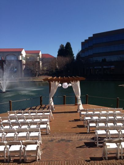 Gorgeous day for a wedding!  Aisle Markers provided by Brown & Co. Chair Covers and Linens