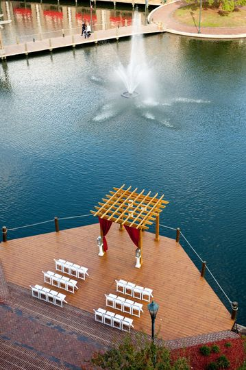 Bird's Eye View of our Dock!  We can hold up to 300 guests for a ceremony.