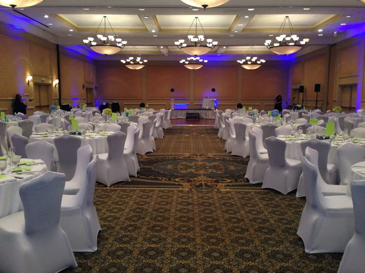 This couple chose to have their ceremony and reception in the same ballroom.  We split the tables...