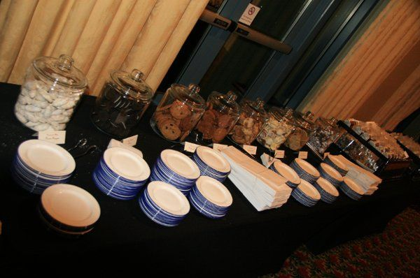 A Cookie Buffet set up at the end of the wedding night for guests to enjoy on their ride home!