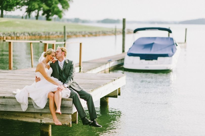 AJ and Sara on the dock. Photo by Autumn Harrison Photography.