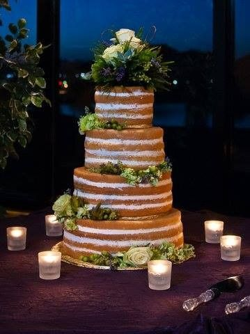 night shot of naked cake