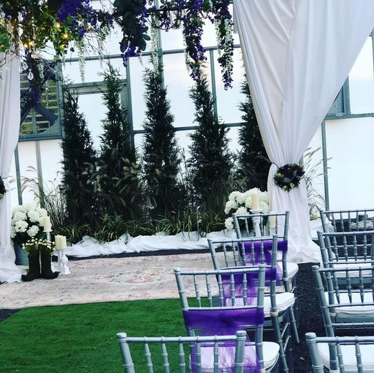 Ceremony setup with chairs