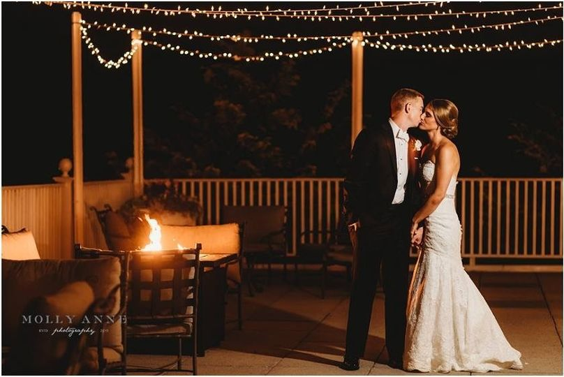 Kissing on a deck