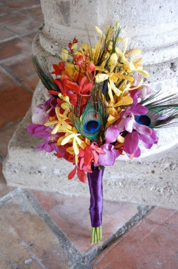 Orchid and Peacock Feather Bouquet