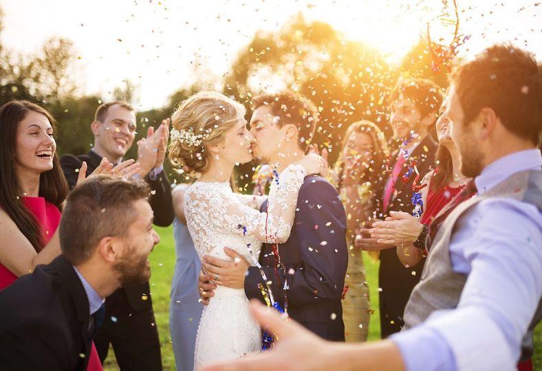 Newlyweds kiss