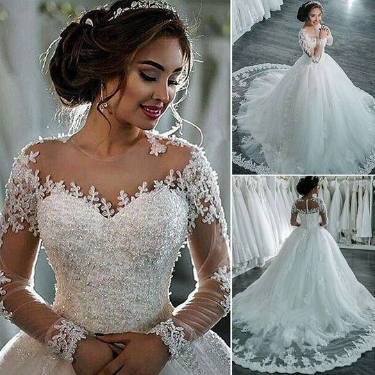 Luxury lace wedding gown, front and back