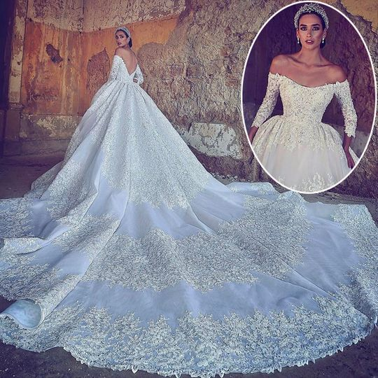 Long train sleeve bridal gown front and back
