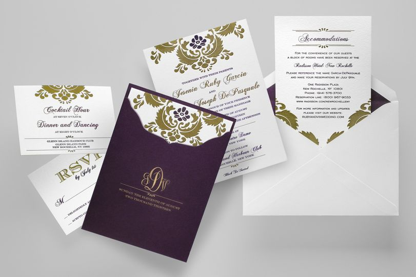 Wedding Damask  A touch of vintage damask adorns this elegant design, available in 5 gorgeous color...