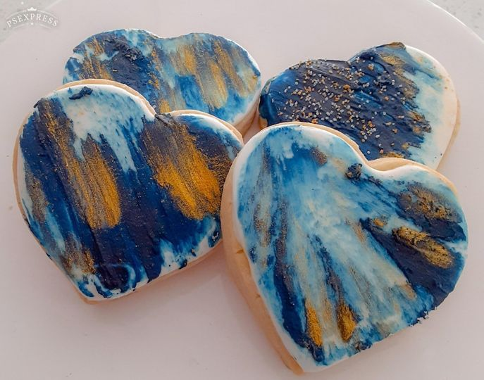 Blue and gold watercolor cookies