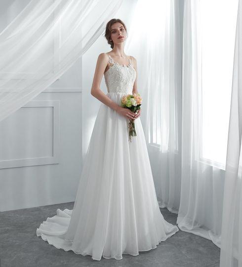 Pleated sweetheart a-line wedding dress Illusion neckline 3D flower lace  flowing organza dress 4fd3f6baf