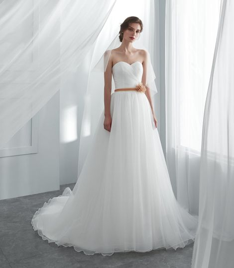 Pleated sweetheart a-line wedding dress with court train