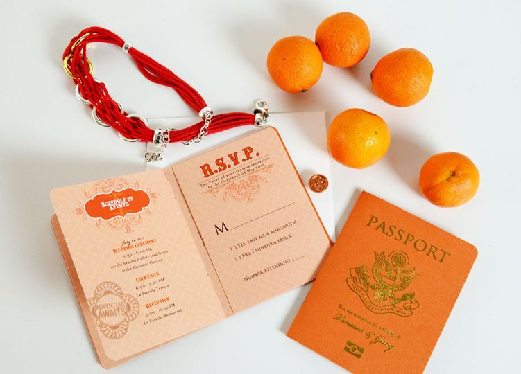 agatha passport style wedding invitation 1
