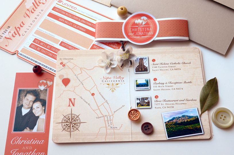 christina taupe and coral passport and boardding pass invitation 12