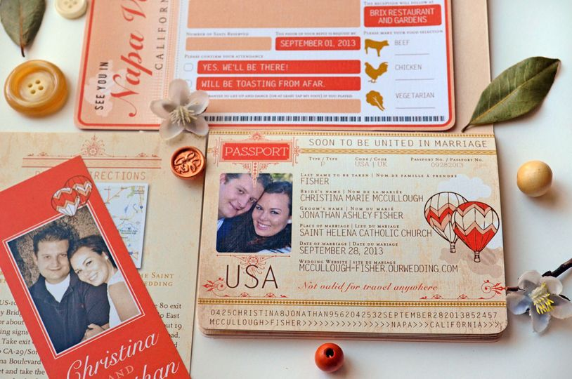christina taupe and coral passport and boardding pass invitation 13
