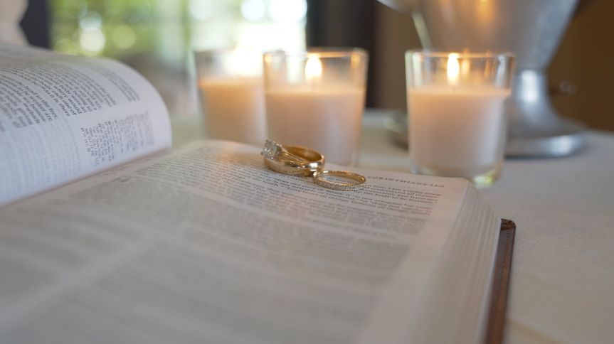 Rings candles and bible verses