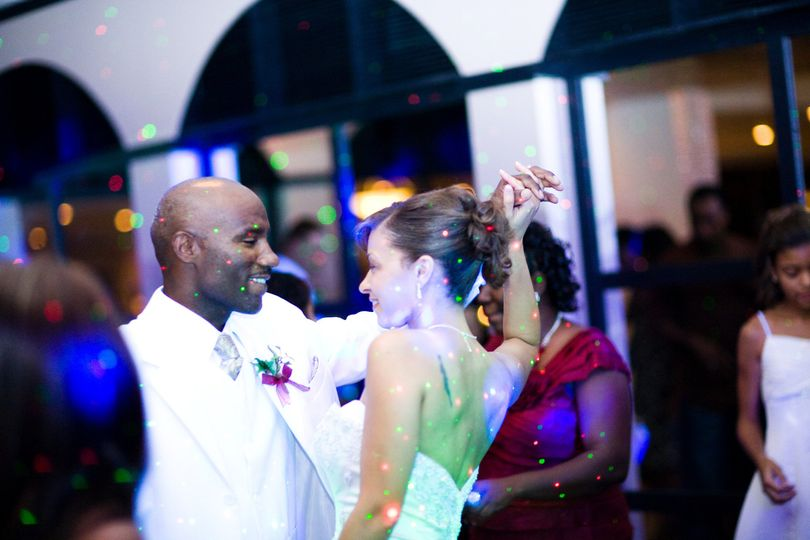 "Cory & annie celebrate with wow factor dj as they ""step in the name of love"" at the bluff, grand..."