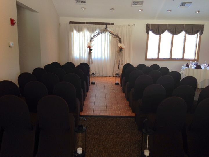 Small intimate indoor ceremony for up to 50 people.