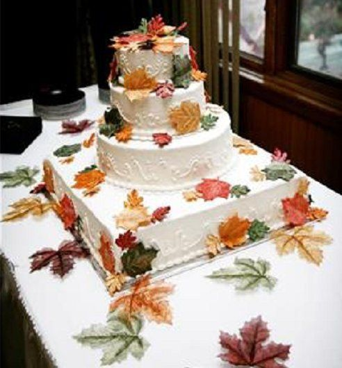 Fall theme with edible leaves, white with white scroll work, and a combo of square and circle cakes