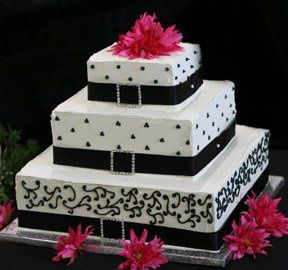 Square black and white cake